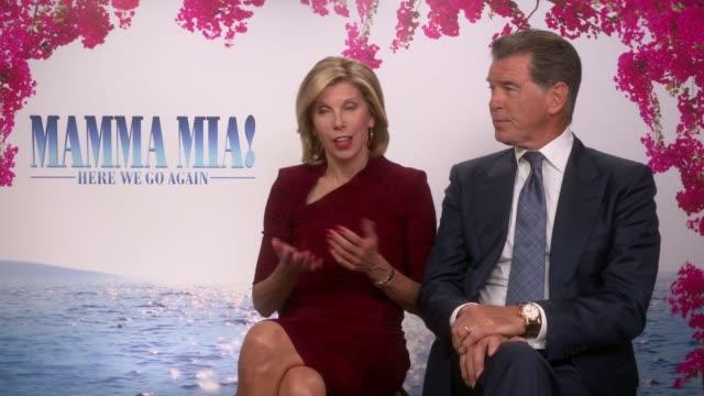 'Mamma Mia Here We Go Again' junket interviews Amanda Seyfried Lily James Christine Baranski Pierce Brosnan ENGLAND London INT Christine Baranski and...