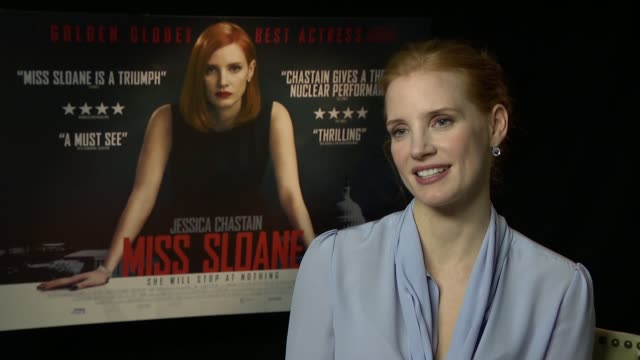 'Miss Sloane' Jessica Chastain junket interview ENGLAND London INT Jessica Chastain interview SOT