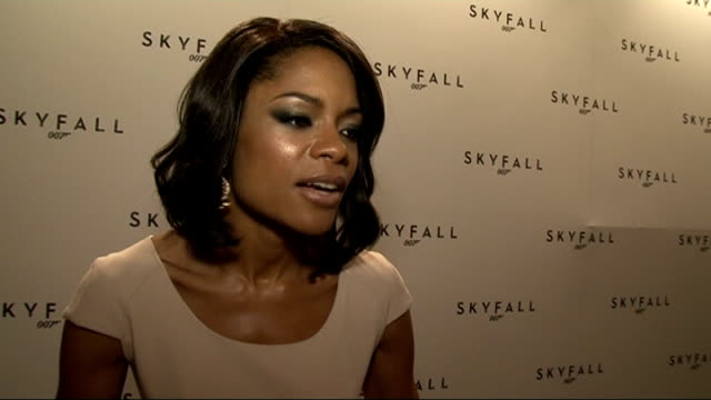 Name of new Bond film revealed Interviews Naomie Harris speaking to press Naomie Harris interview SOT Very nearly told people but I stopped myself /...