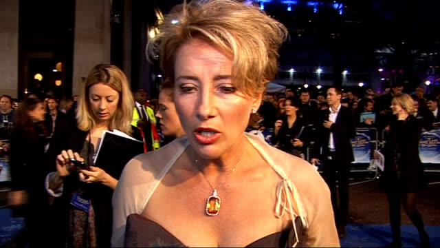 'Nanny McPhee and the Big Bang' London premiere Red carpet interviews Emma Thompson interview SOT On whether she is anything like Nanny Mcphee / On...