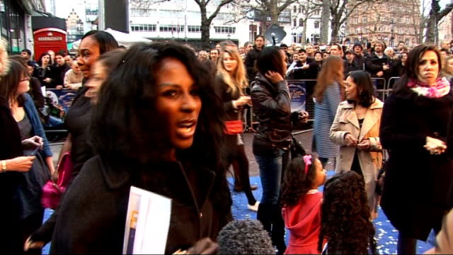 stockvideo's en b-roll-footage met 'nanny mcphee and the big bang' london premiere red carpet interviews sinitta's child zac speaking into reporter's microphone sot sinitta interview... - gail porter