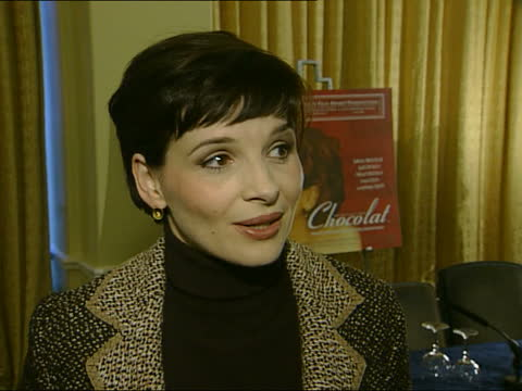 oscar nominations announced; england: london: int 2-shot juliet binoche speaking to derham juliet binoche interviewed sot - as a french actress,... - french culture stock videos & royalty-free footage