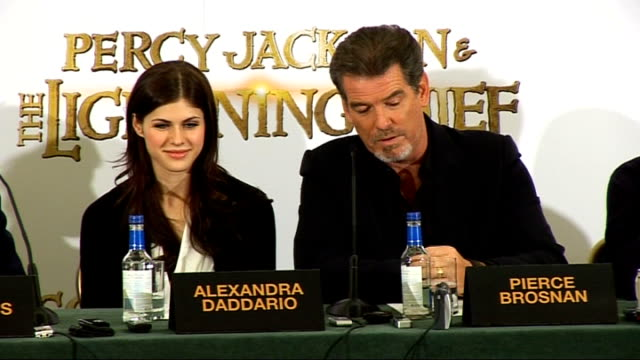 percy jackson and the lightning thief press conference brosnan press conference sot talks of seeing the film with his family / 8 year old thinks it... - greek mythology stock videos and b-roll footage