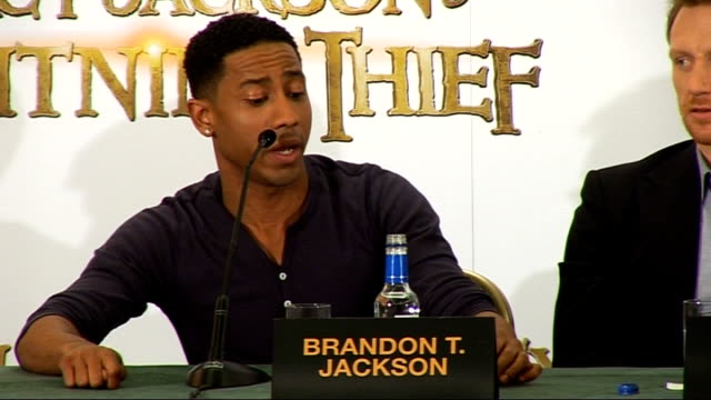 'Percy Jackson and the Lightning Thief' press conference Jackson press conference SOT Talks of his sister's knowing about the book Lerman press...