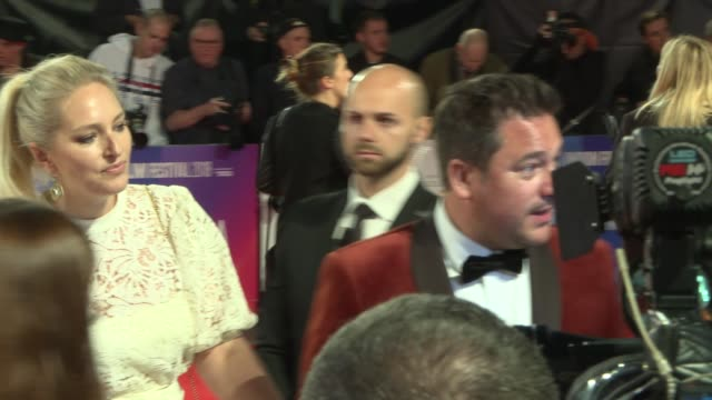 'stan and ollie' london premiere gvs and interviews on red carpet england london photography*** poster for film 'stan and ollie' / rufus jones on red... - steve coogan stock videos & royalty-free footage