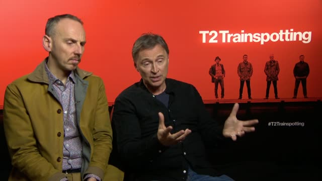 "trainspotting"": interviews with director and cast; films: ""t2 trainspotting"": interviews with director and cast; ewan bremner and robert carlyle... - robert carlyle stock videos & royalty-free footage"