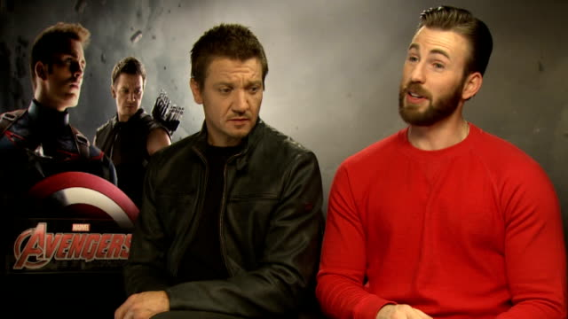 the avengers: age of ultron: cast interviews; england: london: int jeremy renner and chris evans interviews sot - cast member stock videos & royalty-free footage