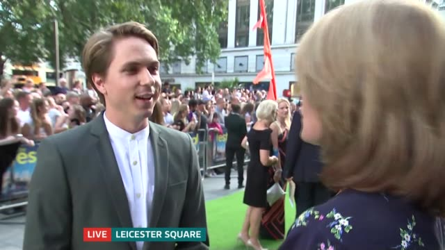 'The Festival' premiere ENGLAND London Leicester Square EXT Joe Thomas LIVE interview SOT