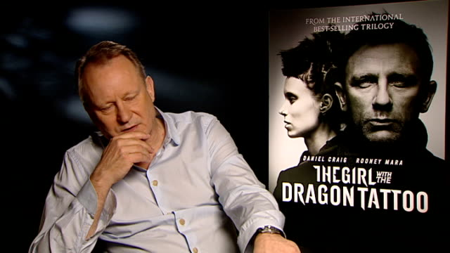 'the girl with the dragon tattoo': interviews; stellan skarsgard interview sot - on what made his sign up to this film and not the one before -... - tattoo stock videos & royalty-free footage