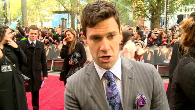 the hangover part iii red carpet justin bartha interview sot - the morning after stock videos and b-roll footage