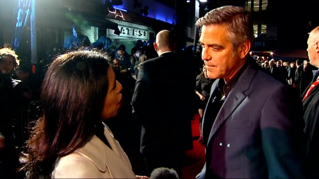 'the ides of march' london premiere england london leicester square photography*** george clooney interview sot changed the way our country is moving... - best supporting actor stock videos & royalty-free footage