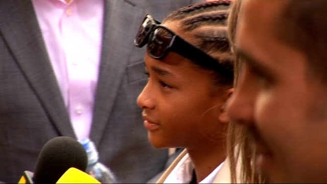 'the karate kid' london premiere bv natalie cassidy signing autographs jaden smith conducting interview jaden smith interview sot advice from dad... - jaden smith stock videos & royalty-free footage
