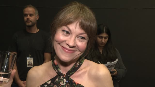 'their finest': red carpet interviews.; england: london: bfi southbank: int helen mccrory gvs and interview sot / gemma arterton gvs and interview sot - ヘレン マックローリー点の映像素材/bロール