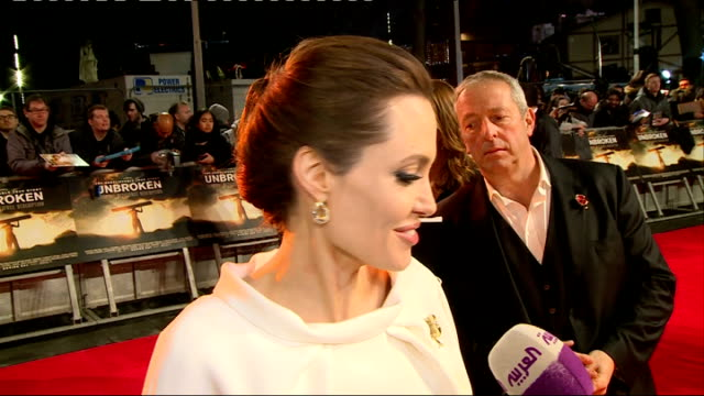 'Unbroken' premiere Red carpet arrivals and interviews More of Jolie talking to press on red carpet / Angelina Jolie interview SOT on representing...