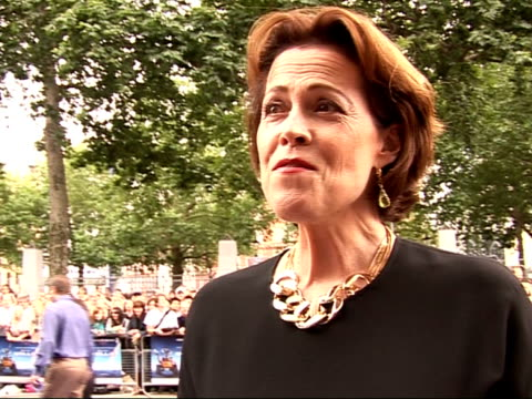 WallE premiere in Leicester Square Arrivals and interviews Sigourney Weaver interview SOT Talks of how she got involved in the film and falling in...