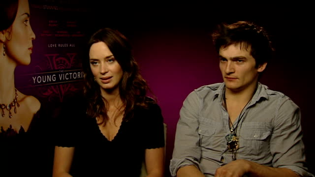 'young victoria': intvw emily blunt, rupert friend, julian fellowes; emily blunt and rupert friend interview sot - on costume - nightmare, you can't... - julian fellowes stock videos & royalty-free footage