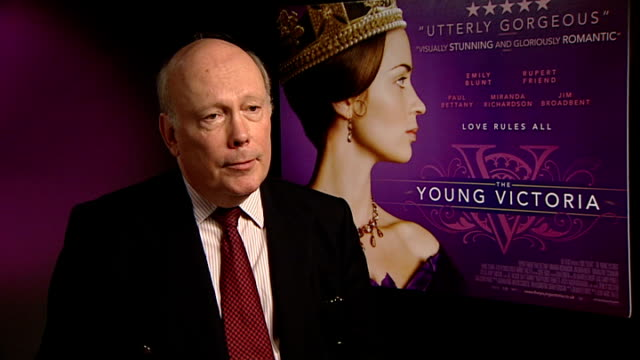 'young victoria': intvw emily blunt, rupert friend, julian fellowes; julian fellowes interview sot - on victoria, he loves her - she is extraordinary... - julian fellowes stock videos & royalty-free footage