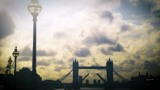 filtered time lapse shot of tower bridge. - river thames stock videos & royalty-free footage