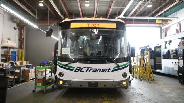 Final assembly testing repairs and servicing of Grande West Transportation buses in Vancouver BC Canada on Thursday August 30 2018