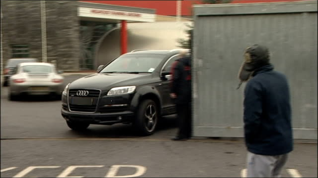 liverpool melwoodtraining ground audi car with fernando torres inside leaving training ground - transfer stock videos and b-roll footage