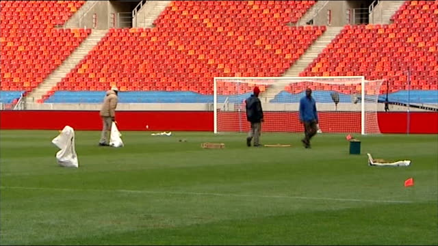 final group stage match england buildup port elizabeth nelson mandela bay stadium various shots sections of turf being relaid on football pitch - turf stock videos & royalty-free footage