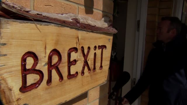 Final hours of campaigning takes place for the Newport West byelection UK Newport Newport Transporter Bridge house signs 'wits end' and 'Brexit' time...