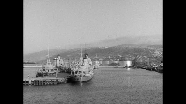 montage a final look at the harbor as the ss ionian leaves haifa / haifa, israel - haifa video stock e b–roll