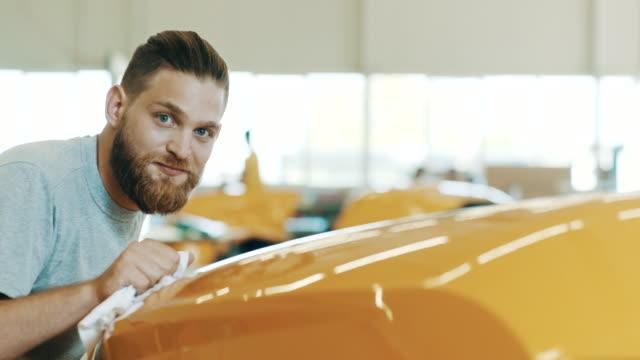 final polishing of yellow product - polishing stock videos & royalty-free footage