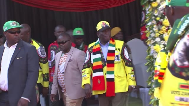 final rallies before first general election since robert mugabe removed from power zimbabwe harare ext emmerson mnangagwa and others along at rally... - zimbabwe stock videos & royalty-free footage