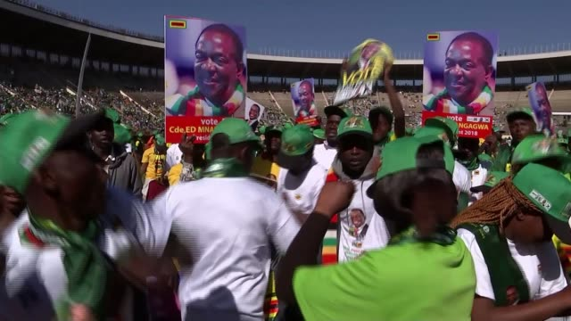 final rallies before first general election since robert mugabe removed from power zimbabwe harare crowd attending zanupf rally for emmerson... - zimbabwe stock videos & royalty-free footage