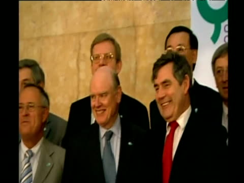 finance ministers from g8 pose for press following talks - 首脳会議点の映像素材/bロール