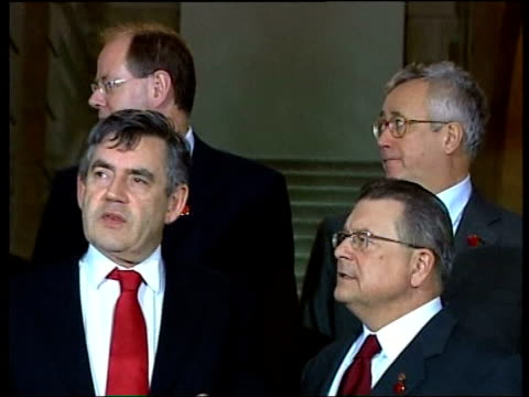 g7 finance ministers meeting in london pool london gordon brown mp posing with g7 finance ministers for family photocall cms brown chatting cms... - chairperson stock videos and b-roll footage