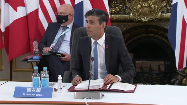 finance ministers meeting: top of meeting / rishi sunak opening statement; england: london: lancaster house: int rishi sunak mp speaking at top of... - talking stock videos & royalty-free footage