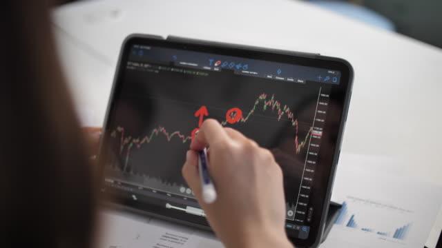 vídeos de stock e filmes b-roll de financial analysts see charts and graphs monitor - fazer dinheiro