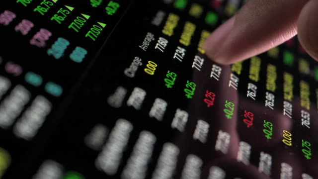 financial analysts see charts and graphs on digital tablet - financial technology stock videos & royalty-free footage