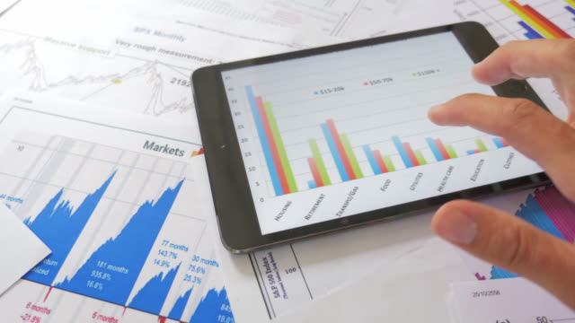 Financial analysts see charts and graphs on digital tablet