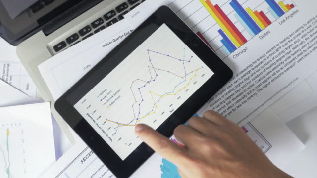 financial analysts see charts and graphs on digital tablet - strategy stock videos & royalty-free footage
