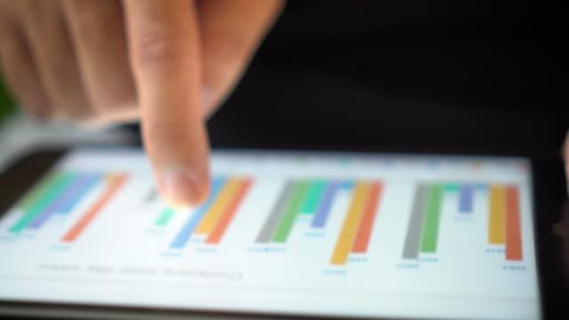 vídeos de stock, filmes e b-roll de os analistas financeiros ver tabelas e gráficos do tablet digital, close-up - página da web