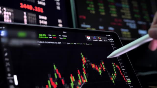 vidéos et rushes de des analystes financiers voir les tableaux et graphiques sur l'écran de la tablette numérique - big data