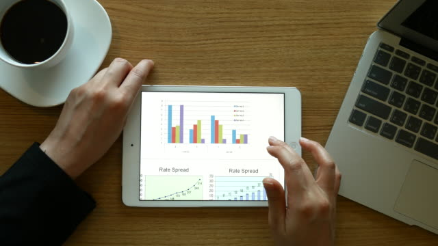 Financial analysts see charts and graphs on the screen of the touchpad, 4k(UHD)