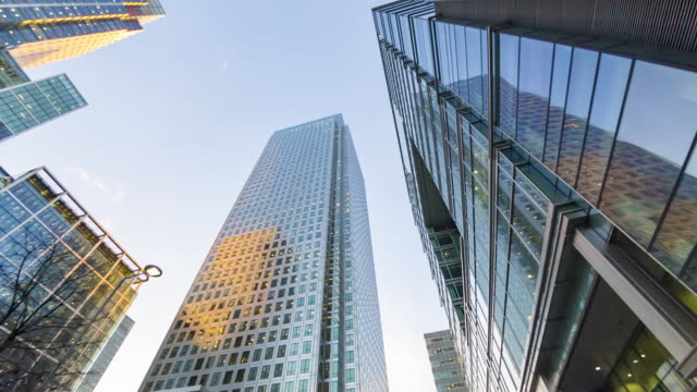 financial centre in london's docklands. - walking point of view stock videos & royalty-free footage