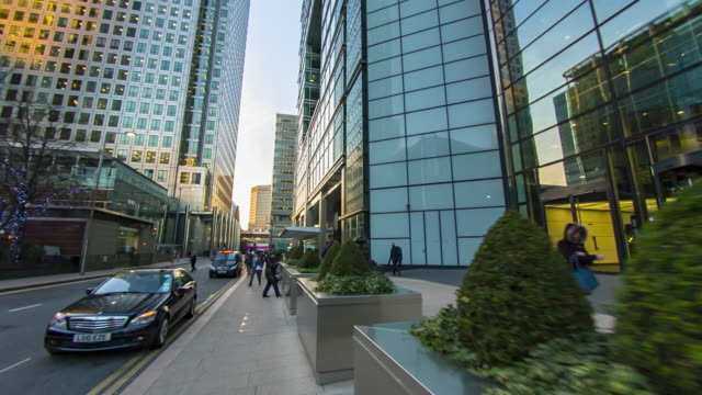 financial centre in london's docklands. - low angle view stock videos & royalty-free footage