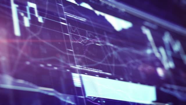 Financial Chart on Digital Display. 4k video background