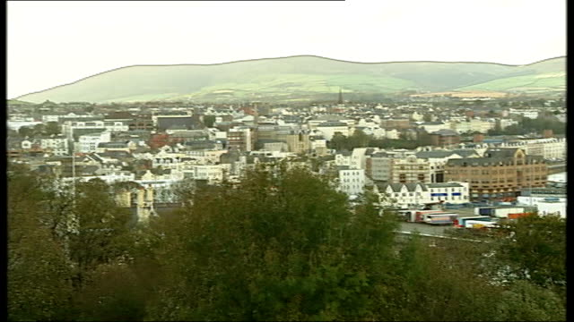 general views of douglas on the isle of man; england: isle of man: douglas: ext good general views of douglas harbour/port includng views of... - isle of man stock videos & royalty-free footage