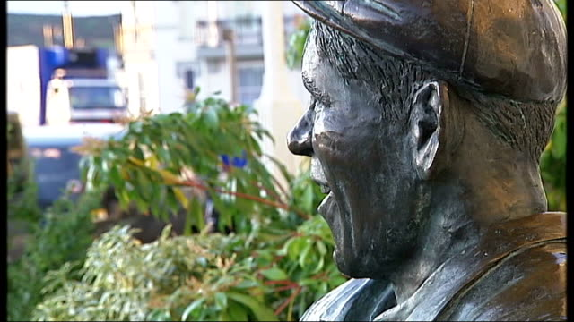 general views of douglas on the isle of man; good general views and close ups of norman wisdom seated bronze statue, the beach and the promenade... - isle of man stock videos & royalty-free footage