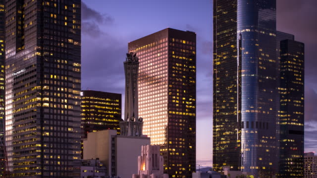dtla financial district at dusk - timelapse - illuminated stock videos & royalty-free footage