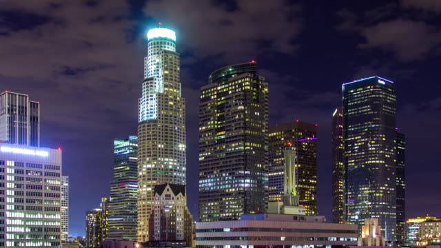 LA Financial District at Night - Timelapse
