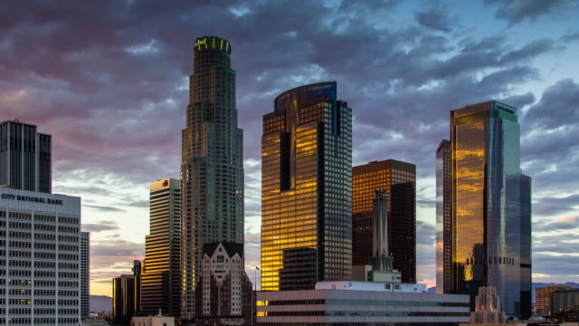 LA Financial District at Sunset - Day to Night Timelapse