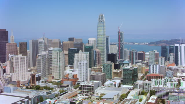 vidéos et rushes de aerial financial district à san francisco, californie - effet de zoom