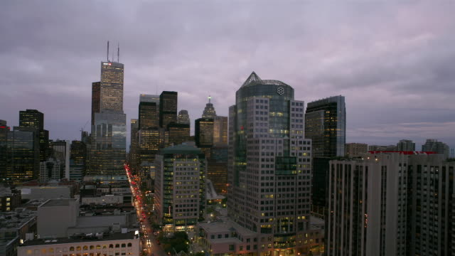 T/L, MS, HA, Financial district, King Street, day to dusk, Toronto, Ontario, Canada